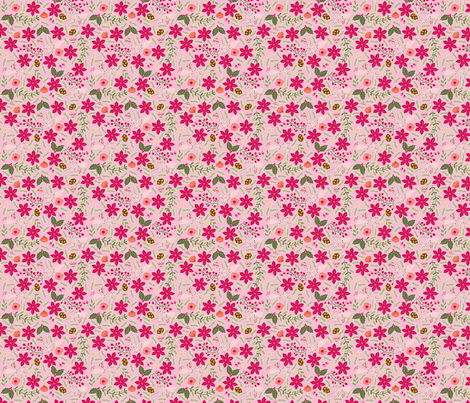 Poinsettia_flower_fond_rose_S fabric by nadja_petremand on Spoonflower - custom fabric