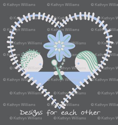spoonflower heart on grey
