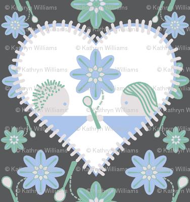 Spoonflower's heart on grey