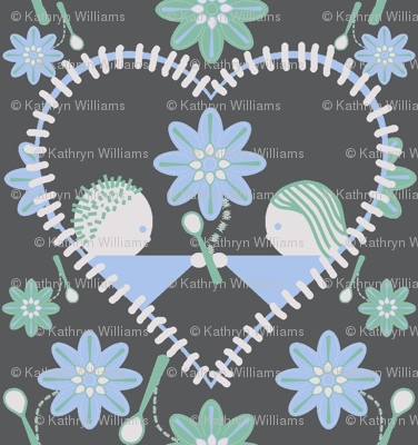 The heart of Spoonflower (on grey)