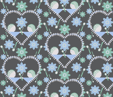 The heart of Spoonflower (on grey) fabric by squeakyangel on Spoonflower - custom fabric