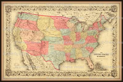USA Map 2, vintage, small