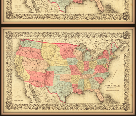 USA Map 2, vintage, small fabric by svester on Spoonflower - custom fabric