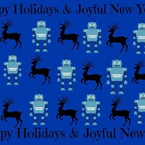 Joyful New Year Robots & Reindeer