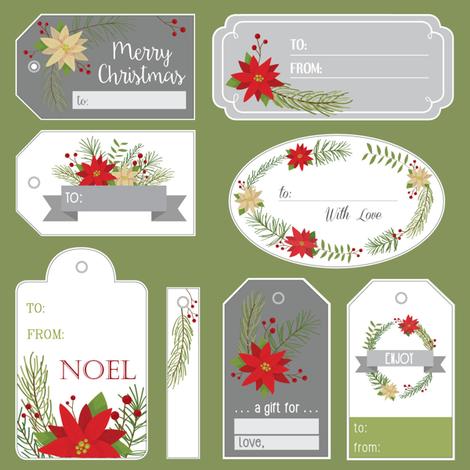 Poinsettia Gift Tags fabric by karman_valla on Spoonflower - custom fabric