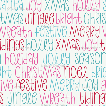 christmas words pink wallpaper taylorshannon spoonflower