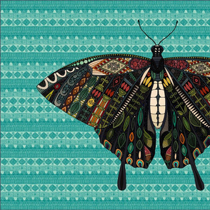 swallowtail butterfly teal tea towel