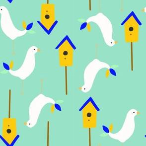 scandinavian birds aqua