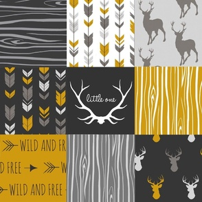 WholeCloth Quilt- Ironwood -gold,charcoal ,grey deer, antler, arrows, Woodgrain patchwork squares