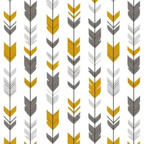 Arrow Feathers - Ironwood - grey,gold,white
