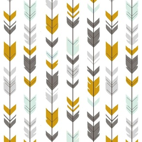 Arrow Feathers - ironwood w/ mint -grey,gold,mint on white