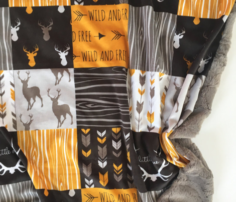 WholeCloth Quilt - Ironwood- deer arrows antlers and woodgrain - patchwork