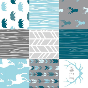 Wholecloth Quilt - Winslow Woodland - Blue/teal/grey deer antlers arrows and woodgrain
