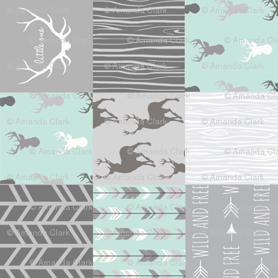 Wholecloth Quilt - rotated - whistler village - grey and mint