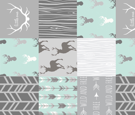 Wholecloth Quilt - rotated - whistler village - grey and mint fabric by sugarpinedesign on Spoonflower - custom fabric