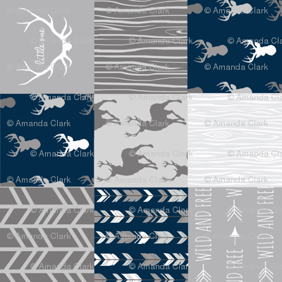 Wholecloth Quilt- Starlit - Navy and Grey Deer, antlers, arrows, patchwork woodland