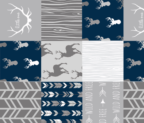 Wholecloth Quilt- Starlit - Navy and Grey Deer, antlers, arrows, patchwork woodland  fabric by sugarpinedesign on Spoonflower - custom fabric