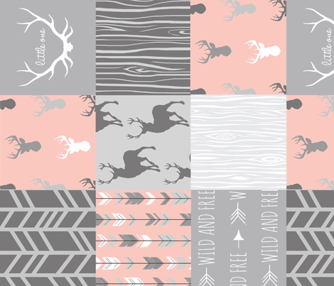 Wholecloth Quilt Rotated - Coral and Grey Patchwork Deer, Arrows, Woodgrain fabric by sugarpinedesign on Spoonflower - custom fabric