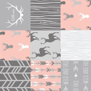 Wholecloth Quilt Rotated - Coral and Grey Patchwork Deer, Arrows, Woodgrain