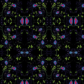 Black Vine Floral mirrored