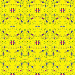 Yellow Vine Floral Mirrored