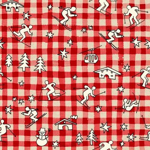 Swiss Gingham with Skiers