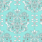 Stitcher's Damask in Blue