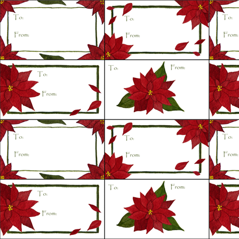 Poinsettia gift tags fabric by sarah_coombs on Spoonflower - custom fabric
