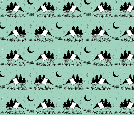 Adventures - Mint background fabric by howjoyful on Spoonflower - custom fabric