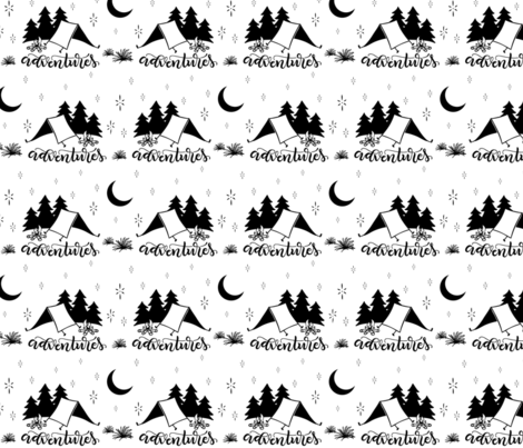 Adventures - Black and white fabric by howjoyful on Spoonflower - custom fabric