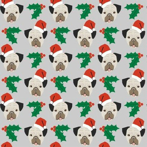 pug dog christmas fabric santa paws cute christmas design
