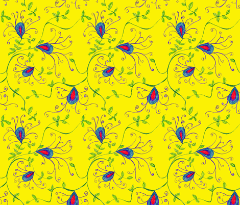 Yellow Vine Floral fabric by beachygirl on Spoonflower - custom fabric