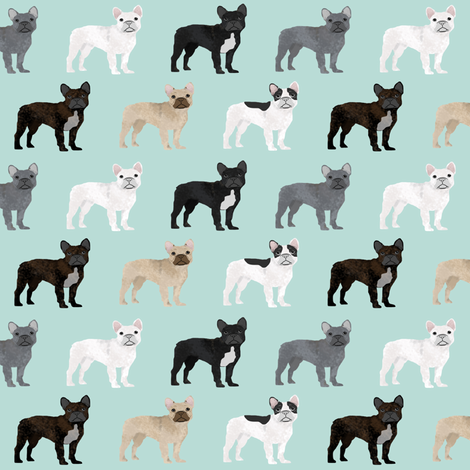 french bulldogs fabric mint frenchies dog fabric cute french bulldog designs cute french bulldogs fabrics fabric by petfriendly on Spoonflower - custom fabric
