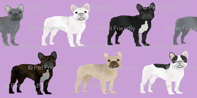 frenchies dog fabric french bulldog fabric cute frenchies dog fabric purple fabric