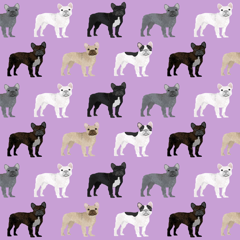 frenchies dog fabric french bulldog fabric cute frenchies dog fabric purple fabric fabric by petfriendly on Spoonflower - custom fabric