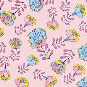 Mod Folk Floral Toss Pink