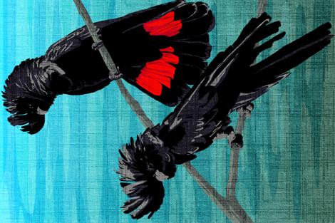 Black Cockatoos Tea Towel ( linen look) fabric by abbieuproot on Spoonflower - custom fabric