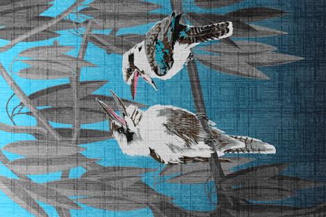 Kookaburras tell the best jokes Tea Towel (linen look) fabric by abbieuproot on Spoonflower - custom fabric