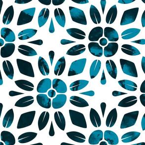 Blue Floral Geometric