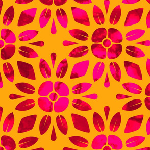 Red and Pink Flowers on Yellow