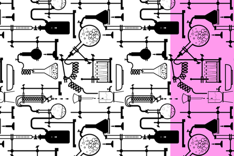 Kitchen chemistry Tea Towel, pink fabric by abbieuproot on Spoonflower - custom fabric