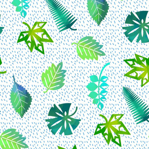 Mixed Jungle Leaves Tea Towel