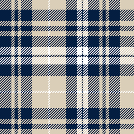 fall plaid || navy, tan, white fabric by littlearrowdesign on Spoonflower - custom fabric
