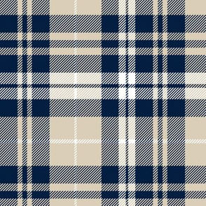 fall plaid || navy, tan, white