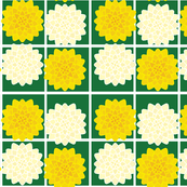 Gold, White, and Jade Floral Grid