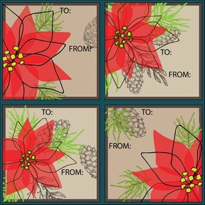 Poinsettia Gift Labels - Lg