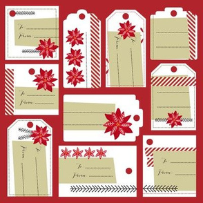 Poinsettias & Peppermint Gift Tags