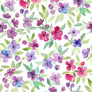 Cherry Red, Lilac and Lavender Watercolor Blossoms