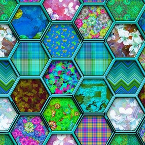 METALLIC MIX HEXIES 3D TURQUOISE AQUA BLUE