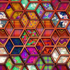 METALLIC MIX DOUBLE HEXIES 3D COPPER